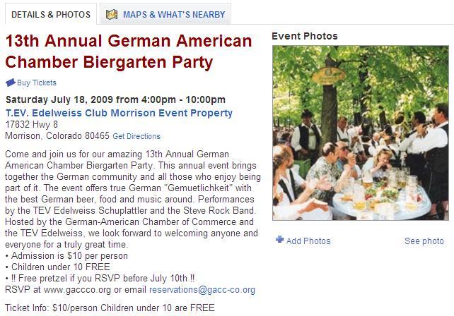 Biergarten Party- Morrison Colorado